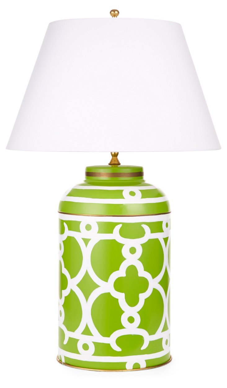 Ming Tea Caddy Lamp, Green