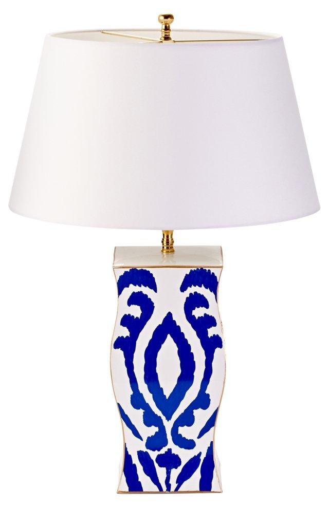 Bargello Chevron Zigzag Table Lamp, Blue