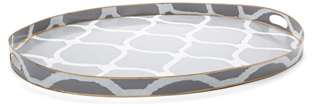 "28"" Hand-Painted Trellis Oval Tray, Gray"