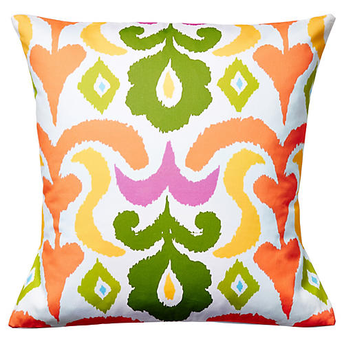 Ikat 22x22 Cotton Pillow, Multi