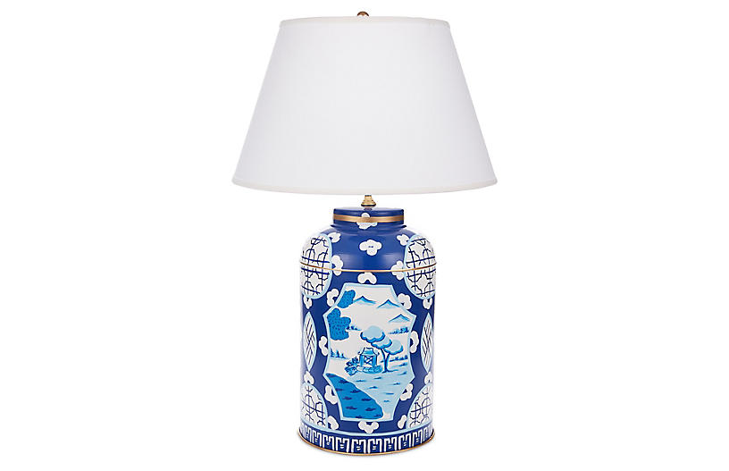 Small Canton Table Lamp, Blue