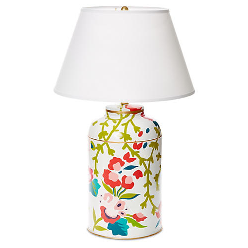 Chintz Tea Caddy Table Lamp, Pink/Green