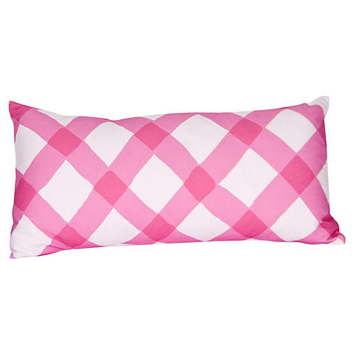 Gingham 12x24 Pillow, Pink