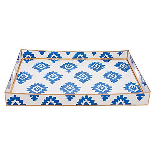 "22"" Block Print Tray, Blue"