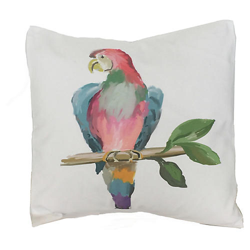 Parrot 18x18 Pillow, White