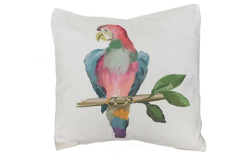 Parrot 18x18 Pillow, White