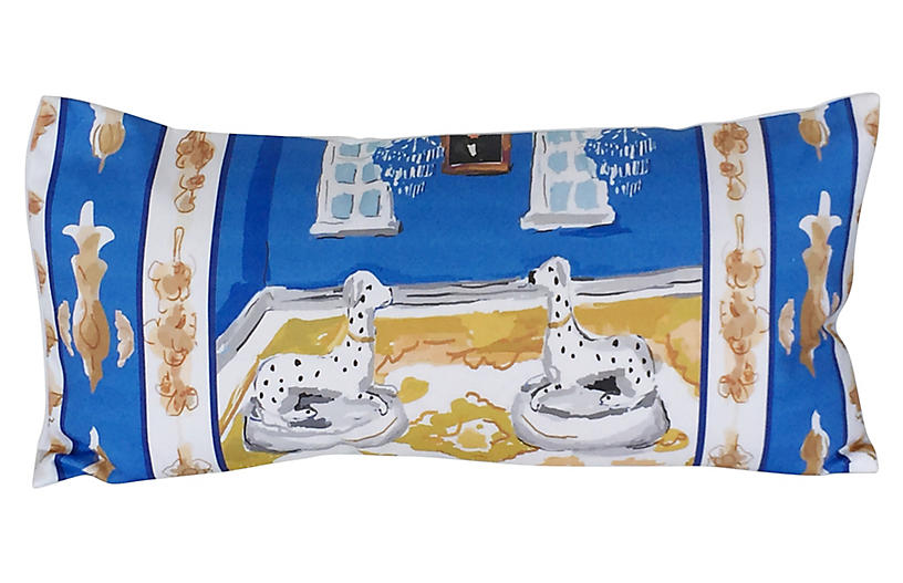 Dog 12x24 Lumbar Pillow, Blue