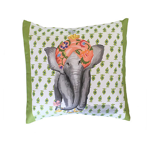 Elephant 18x18 Pillow, Green