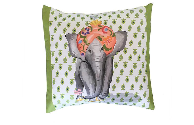 Elephant 18x18 Pillow, Green