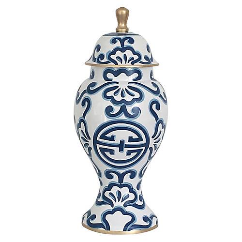 "16"" Sultan Ginger Jar, Blue/White"