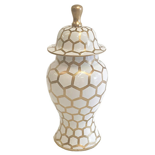 "14"" Mesh Ginger Jar, Gold"