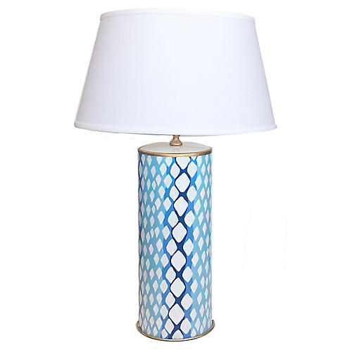 Python Table Lamp, Blue/White