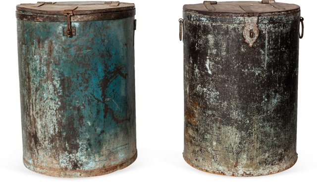 Industrial Trash Cans, Pair