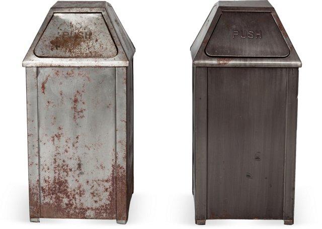 Silver Metal Garbage Cans, Pair