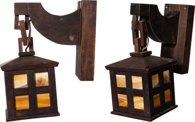 Mission-Style Hanging Lantern Sconces, Pair