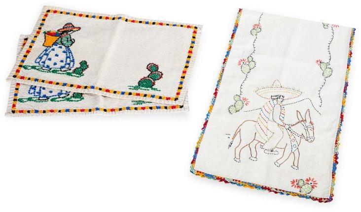 Embroidered Runner & Napkins, 3 Pcs.