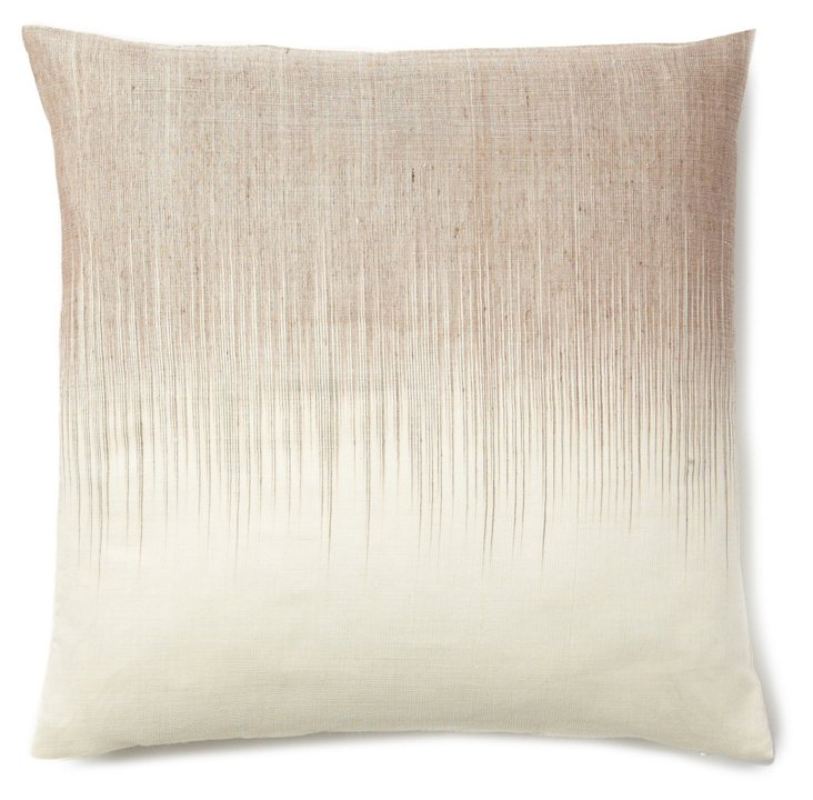 Ombré 20x20 Linen-Blended Pillow, Cream