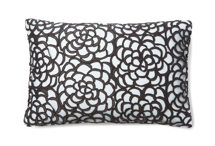 Chrysanthemum Lace 12x18 Pillow, Smoke