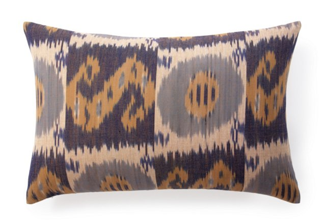 Bukara Ikat 16x24 Linen Pillow, Blue