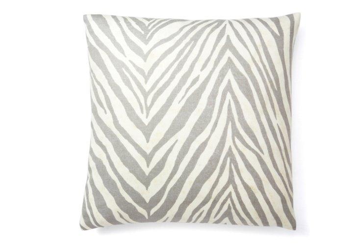 Zebra 20x20 Linen Pillow, Graphite