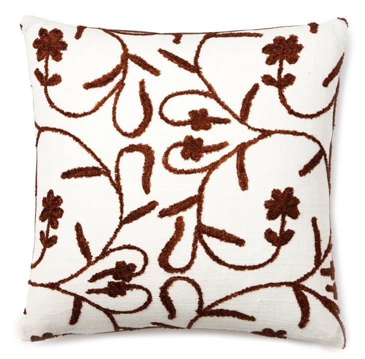 Bouclé Vine 20x20 Pillow, Ivory/Brown