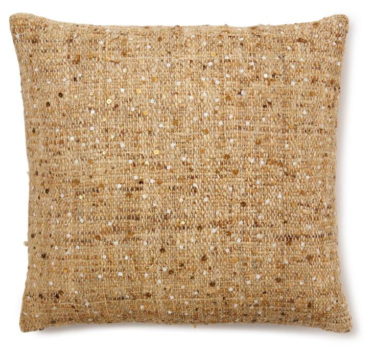 Tweed Sequin 22x22 Pillow, Natural