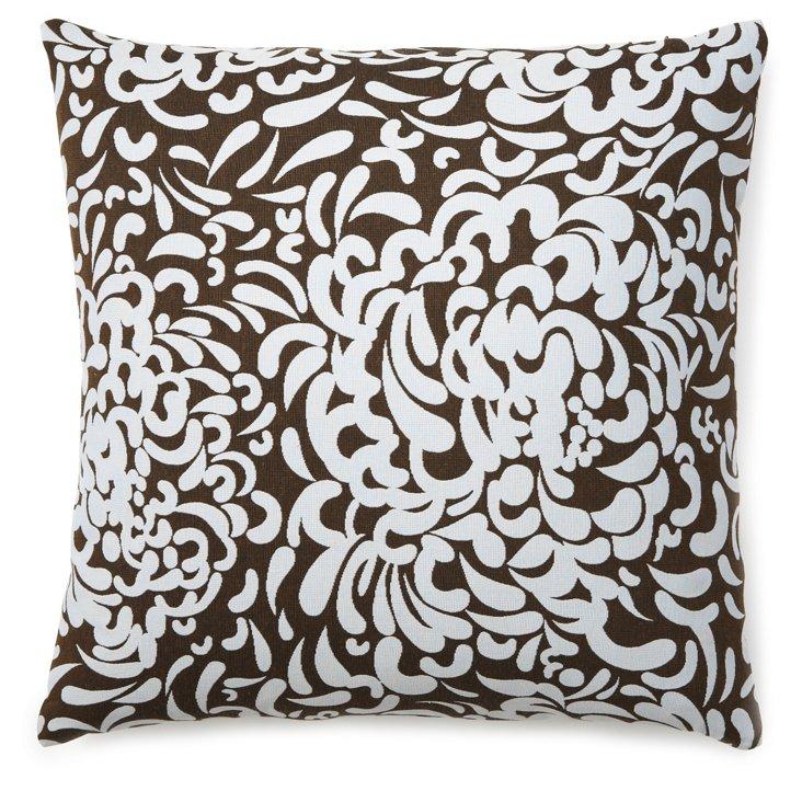 Padova Damask 22x22 Pillow, Brown/Sky