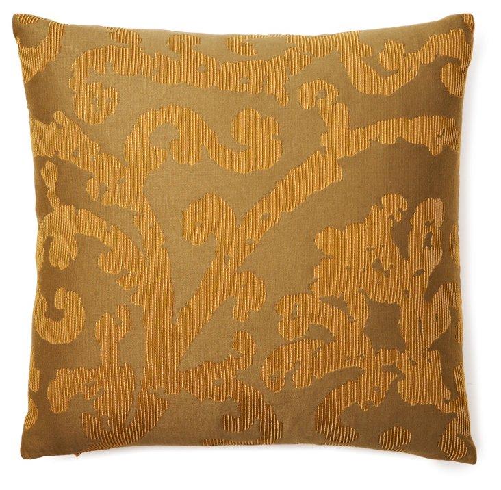 Ribbed Damask 17x17 Pillow, Brown