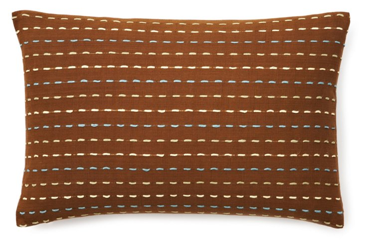 Tufted Stripe 12x18 Pillow, Coffee