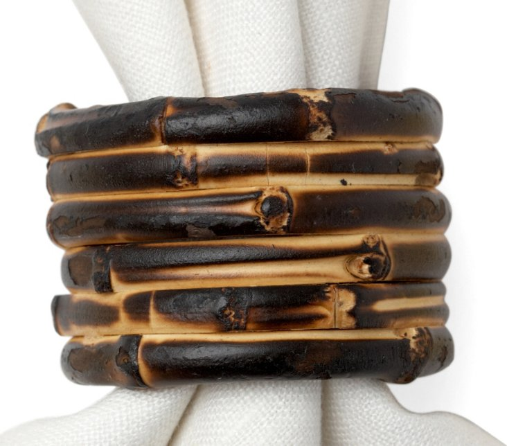 S/4 Bamboo Napkin Rings, Brown