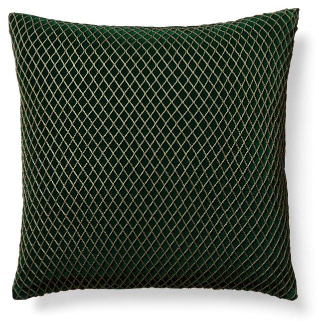 Links 20x20 Velvet Pillow, Emerald