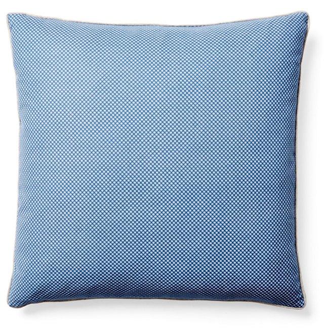 Dot 20x20 Linen-Blended  Pillow, Cobalt