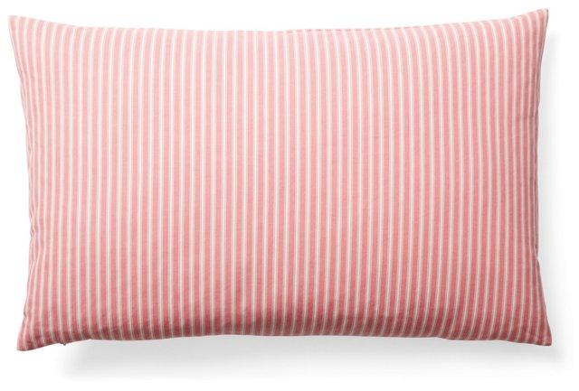 Striped 16x24 Cotton Pillow, Rose