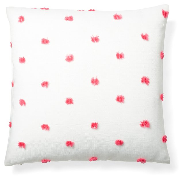 Fuzzy Dot 18x18 Pillow, Pink/White