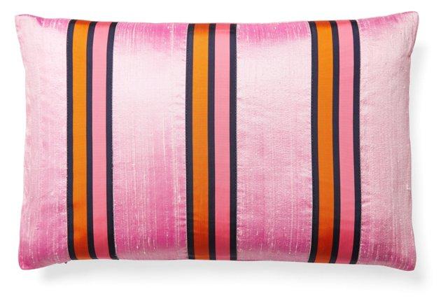 Striped 12x18 Silk Pillow, Pink