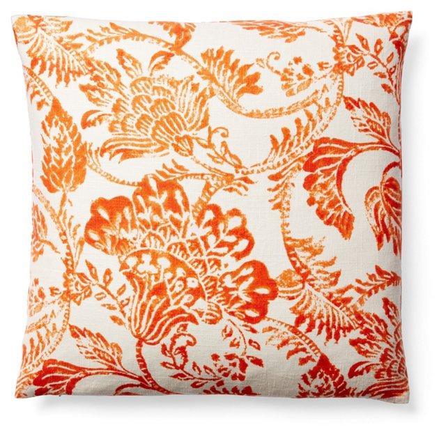 Floral 22x22 Linen Pillow, Tangerine