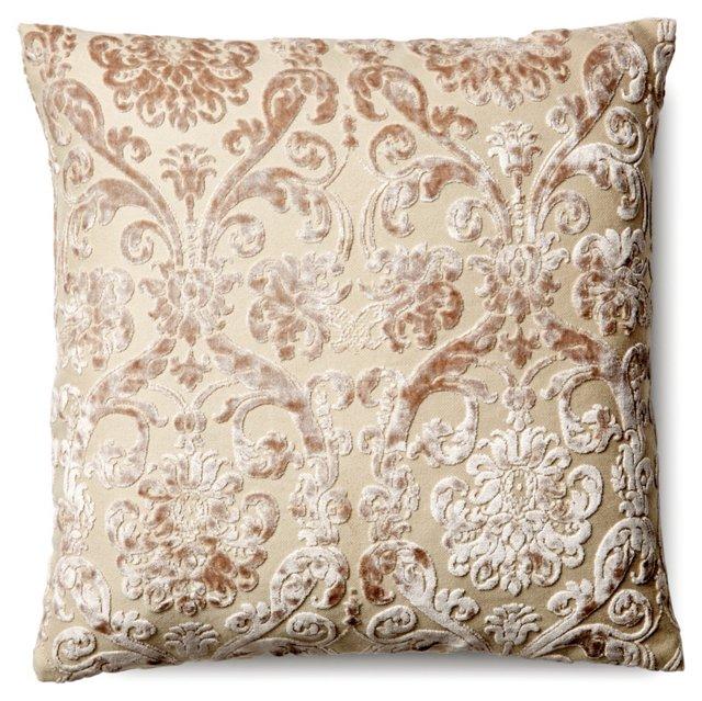 Damask 18x18 Silk Pillow, Natural