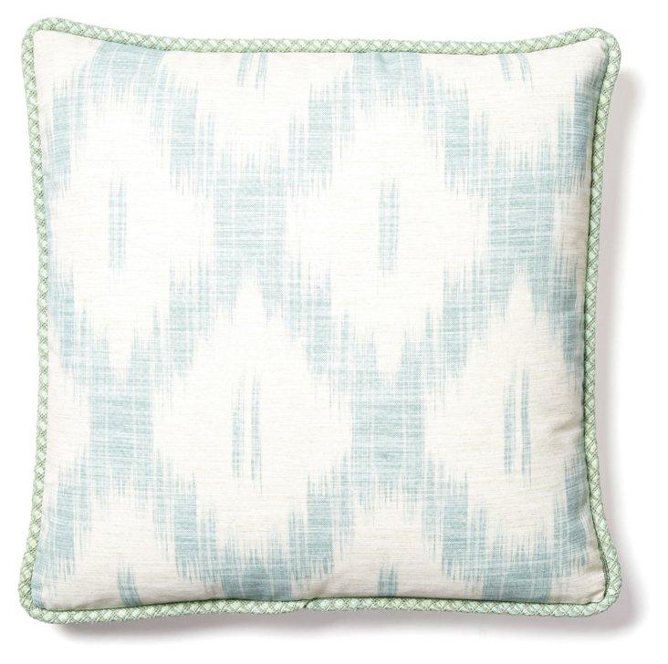 Ikat 22x22 Linen Pillow, Blue