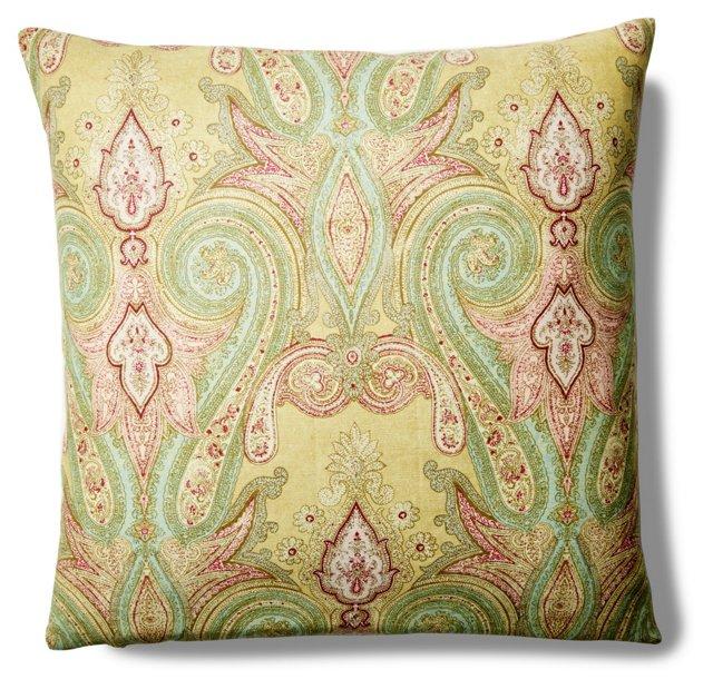 Royal Paisley 22x22 Silk Pillow, Multi