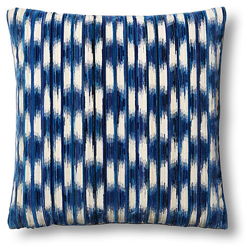 Essence Cut 24x24 Pillow, Blue/Beige