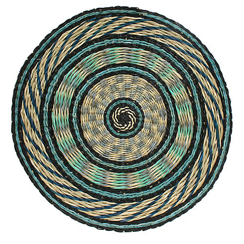 Round Place Mat, Blue/Multi
