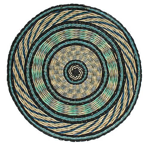 Round Place Mat, Blue/Multi
