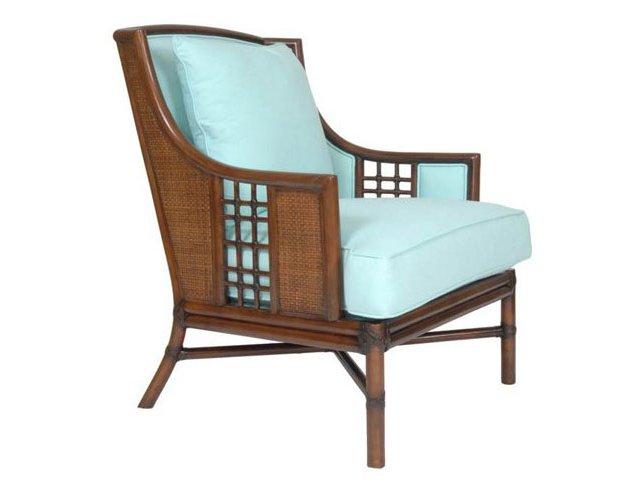 Alexandria Rattan Lounge Chair, Blue
