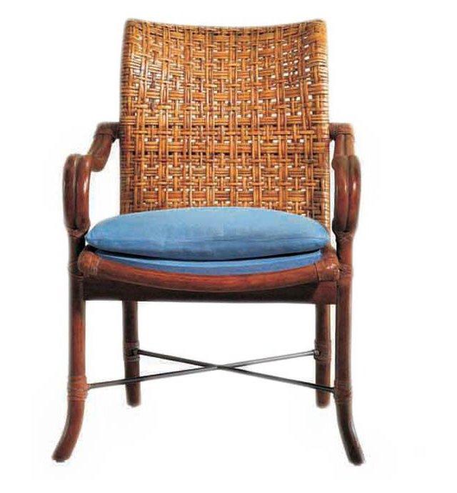 Malacca Cane Armchair, Blue