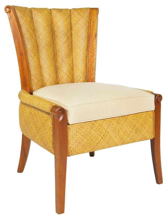 Portofino Woven-Cane Chair, Cream