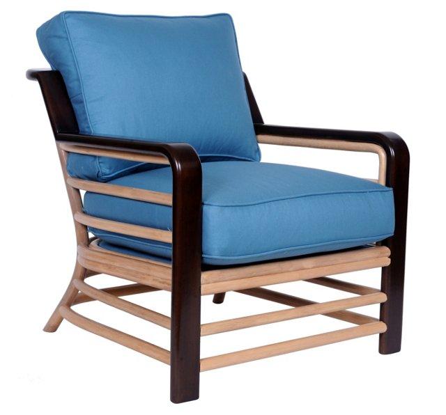 Brickell Cotton Lounge Chair, Deep Sea
