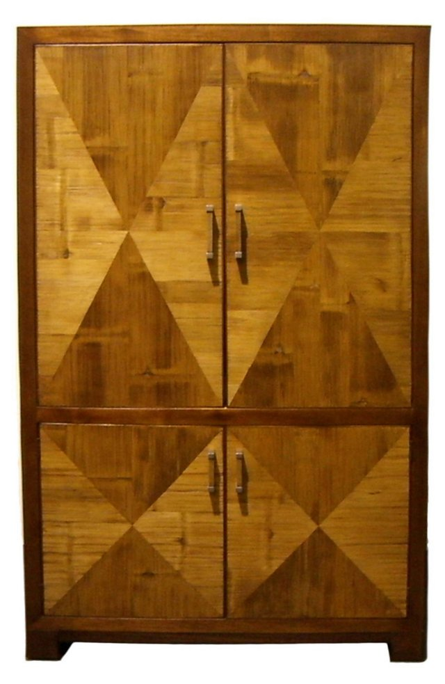 Crushed Bamboo Armoire, Golden Mahogany