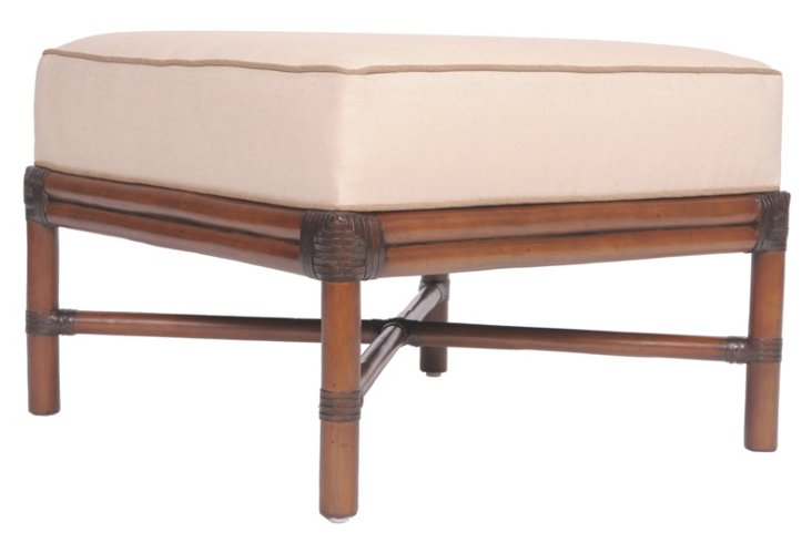 """Raleigh 24"""" Square Ottoman, Ivory/Camel"""