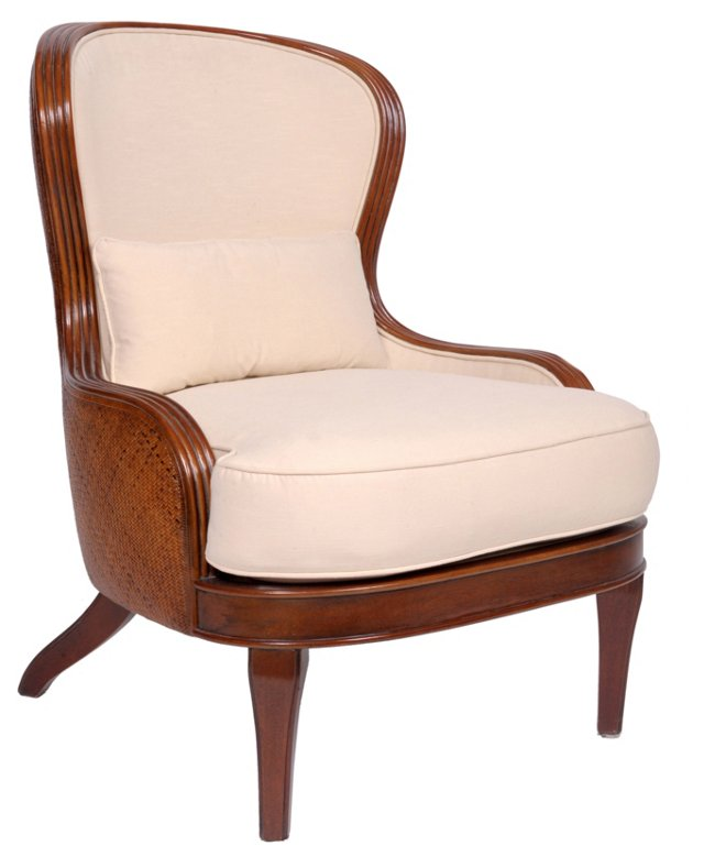 Santurce Rattan Lounge Chair, Oatmeal