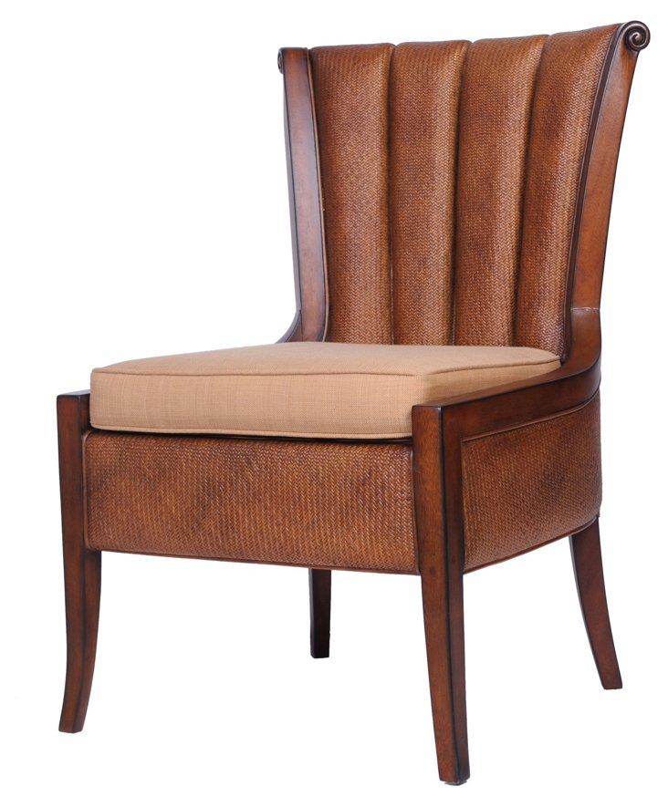 Portofino Cane Chair, Mahogany/Beige